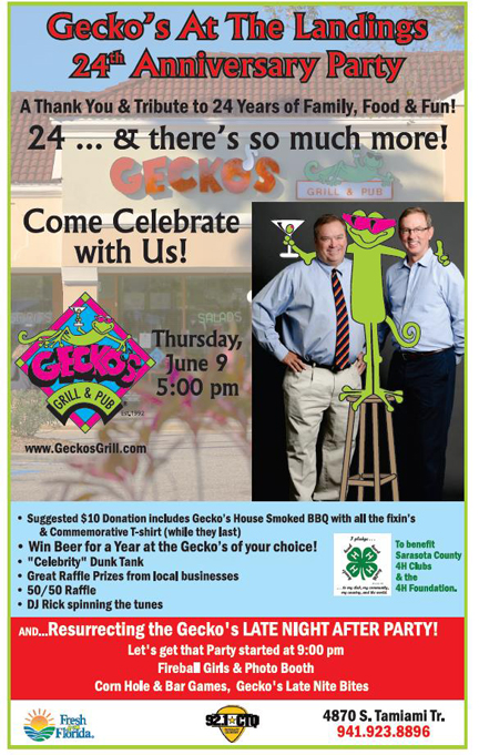 Gecko's 24th Anniversary Party & BBQ At the Landings! Thursday, June 9 @ 5:00
