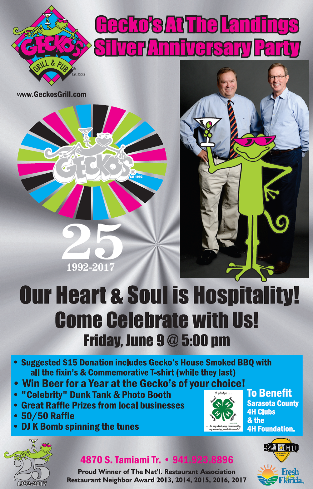 Gecko's Silver Anniversary Party at the Landings! Friday, June 9 @ 5:00